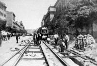 Villamos vasuti vágányok cseréje (Muzeum-körut, 1912)