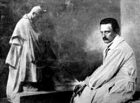 Horvay János a Kossuth -szobor készítője műtermében