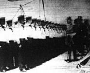 Taft elnök szemléje a Moltke hadihajó legénysége fölött