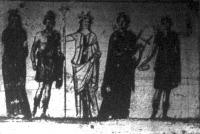 Régi római freskók, a melyeket a legujabb ásatások alkalmával találtak az egyik kiásott pompeji házban