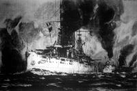 A South Carolina nevü hatalmas amerikai hadihajó, a melyen egymást érik a nagy ágyuk és a pánczélos tornyok