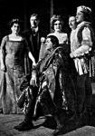 A Paolo és Francesca szerzői és szereplői balról jobbra: Ambrusné, id. Ábrányi Emil, Medek Anna, ifj. Ábrányi Emil, Székelyhidy, előttük ül Rózsa