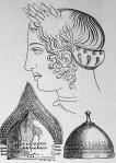 Női arczkép, melyet egy cornettoi sírban találtak, alatta bronz sisakok