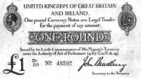 A bankjegypapírra nyomott egyoldalas, átdolgozott Bradbury egy fontos (1914. okt. 1.)