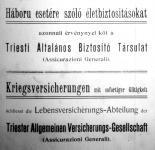 Életbiztosítás hirdetése a Közgazdasági Közleményekben (1914. aug.1.)