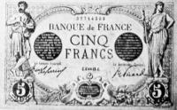 Az ötfrankos bankjegy, amelyet a francziák a háború alkalmából nyomattak.