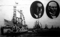 Konfliktus az Egyesült Államok és Mexikó közt. Bal oldalon Wilson amerikai, jobb oldalon Huerta mexikói elnök