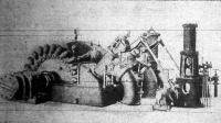 Würtembergben megépített 14.500 lóerős turbina telep teljes képe. A lapátos szabadsugár turbina-kerekek be vannak építve