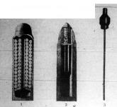 1. A shrapnell,magyarul kartács nevű löveg hosszmetszete. A fehér kockák a lövegben lévő golyók átmetszetei 2. A gránát nevű löveg rajza 3. A kézi gránát képe. A hosszú acélrúdnál fogva helyezik bele a gyalogsági fegyver csövét