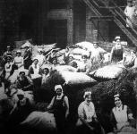 Német nők a sebesültekért. Az egyik hadikórház udvarán szalmazsákokat tömnek a kórházi ágyak számára