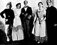 A Liliomfi ünnepi előadásából Rózsahegyi, Nagy Ibolya Ligeti Juliska és Mészáros