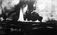 Pusztulása egy német csatahajónak, melyet egy búvárhajó süllyesztett el