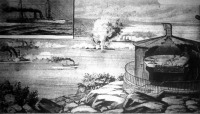 A jól védett szoros aknaberedezését mutatja be képünk. A kikötő, vagy szoros védett helyén van a megfigyelő, amely pontosan megmondja, hogy aknamező melyik részére merészkedett be az ellenséges hajó.