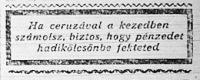 A hetedik magyar hadikölcsön szerény hirdetése a Hétfői Lapokban