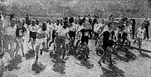 Maratoni futás rajtja