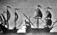 Balrol 1588-ból angol csatahajó, jobbról a hires spanyol armada csatahajója