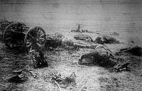 Megsemmisített angol ütegek az Albert melletti harctéren