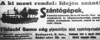 A Fleischl Samu cég szántógépeinek hirdetése