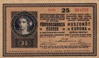 Az Osztrák-Magyar Bank 25 koronása (forgalomban 1920.nov.11-ig)