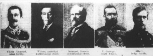 A győztesek. Viktor Emanuel, Wilson, Poincaré, V. György, Albert belga király