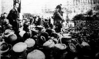 A Vörös Hadsereg diadalainak emlékére rendezett demonstráció, amelyen Kun Béla elvtárs is beszédet mondott