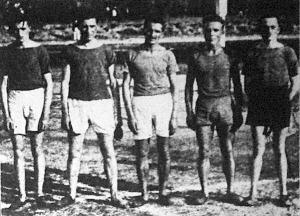 Az 5x5000 méteres síkfutás bajnokcsapata (Wurm-Fonyó-Bese-Király-Zalai)