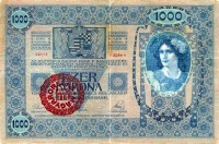 Felülbélyegzett 1000 koronás előoldala (forgalomban 1921.08.31-ig)
