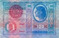 Felülbélyegzett 100 koronás (előoldal, 1912. dec. 13 - 1922. szept. 30.)