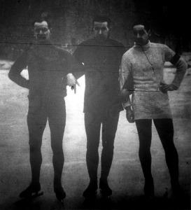 A gyorskorcsolyaverseny helyezettjei Korének János - Déván István - Maczinkievicz Artur