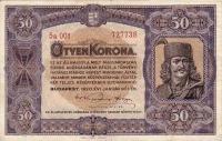 50 koronás államjegy előoldala