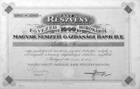 Magyar Nemzeti Gazdasági Bank Részvény 1920