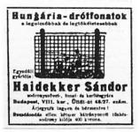 Hungária-drótfonatok (hirdetés)
