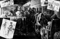 Emigránsokat szállító vonat Amerikában