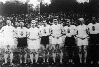 A finn és magyar olimpiai staféta résztvevői Hilden, Rózsa, Helle, Hajdu, Glankó, Flad, Hangafoel és Juhász