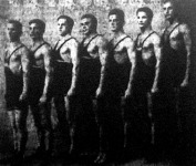 A milánói hősök Magyar Armand, Németh László, Harmath István, Papp László, Matura Mihály, Keresztes Lajos, Badó Rajmund