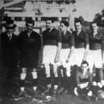A Kispest csapata. Balról Weisz, Gulyás, Hungler III., Dudás, Ölvedy, Saguly, Fürstner, Szabó, Burger; Ülők Praszkó és Raix