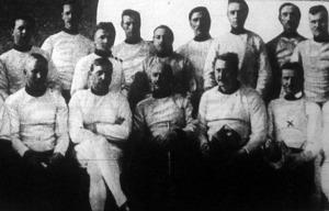 A tőrvívóbajnokság résztvevői - A győztes Terstyánszky Ödön (x)