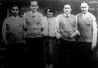 A londoni ping-pong világbajnokság hősei Mechlovits Zoltán, dr. Pécsi Dani, Mednyánszky Mária, Kehrling Béla dr. Jacobi Roland