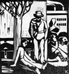 Kónya Lajos Munkanélküliek című linómetszete