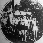 A magyar és olasz válogatott atléták felvonulása a viadal előtt