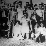 Az olasz válogatott atléták csoportja a Hungária-úti pályán