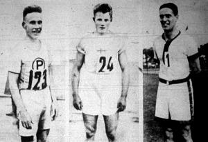 Olimpiai bajnok atléták Ritola (finn), Yrjöla (finn), Lowe (angol)