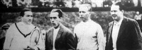 A magyar-francia teniszmérkőzés résztvevői Kehrling, Cochet, dr. Pétery, Danet