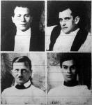 Magyarország olimpiai bajnok kardvívó-csapata. Petschauer, Gombos, Terstyánszky, Glykais