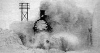 Mozdony a hóviharban (illusztráció)