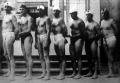 Az olimpiai bajnok magyar vízipólócsapat Ivády, Bródy, Vértessy, Németh, Homonnay, Keserű II. és Halassy