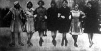 Műkorcsolyázó hölgyek - Imrédy Magda, Kiss Henriette, Else Hornung, Hilde Holovszky, E. Rosiyer, Weinwurm Baby és Kertész Sárika