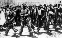 A néger fiúkat erős őrizet alatt, siralomházzá átalakított börtöncelláikból a bíróság tárgyalótermébe kísérik