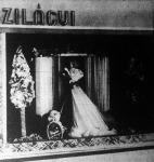 A kirakatban a virágos selyemből készült mesebeli kert és házikó közepében az estélyi ruhás, divatosan felöltöztetett női alakkal Szilágyi Károly munkája.