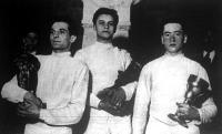 A kardverseny nyertesei Rajcsányi József, Gerevich Aladár és Kovács Pál